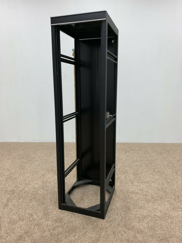 "42u 19"" Rack Enclosure Cabinet, 4 Post, Open Frame, Adjustable Depth & Back Door"