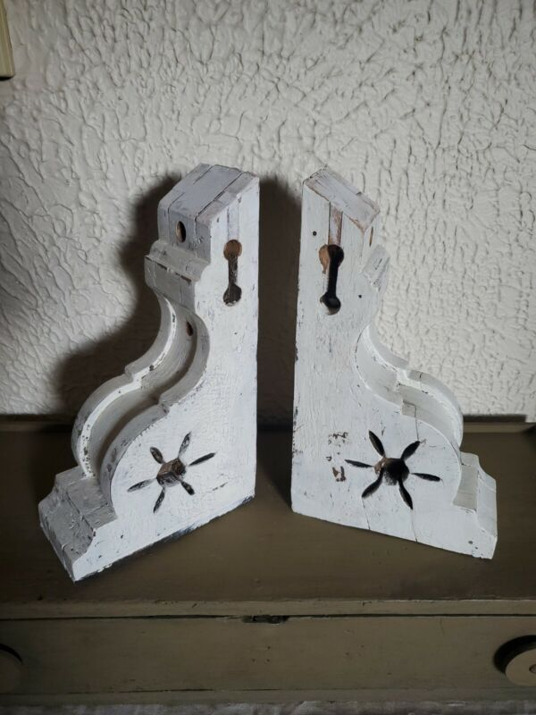 Authentic Vintage  Antique Pair Painted Wood Corbels Architectural Salvage 1900s