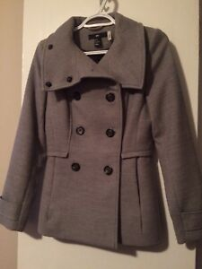 H&M Grey Button Up Pea Coat Size 32 (XS/S)