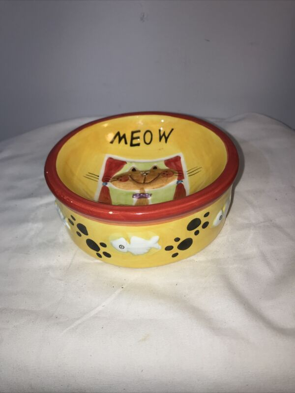 Cat Meow Menu Pet Food Water Ceramic Dish Bowl
