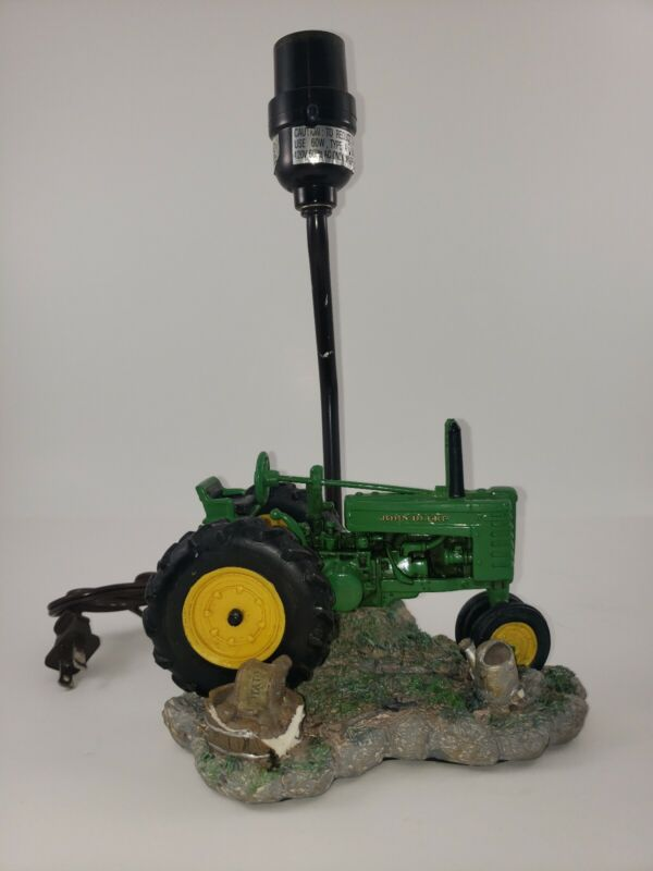 """Vintage John Deere Green Tractor Resin Table Lamp 12"""" Tall w/ No Shade 1999"""