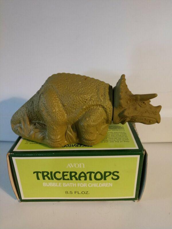 Vintage Avon Triceratops Dinosaur Bubble Bath 8.5 fl oz Full with Original Box