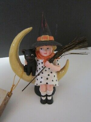 Bethany Lowe Halloween Midnight Moon Witch Black Cat Broom On Moon Sitter NWT!