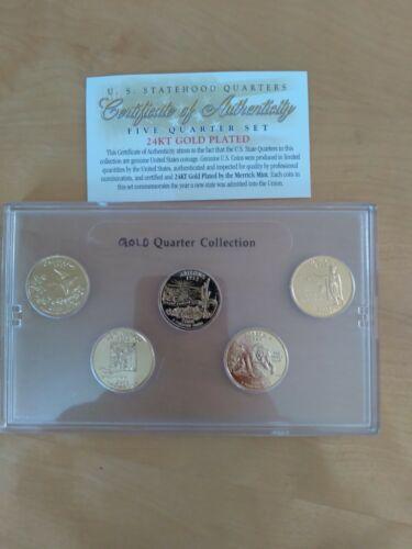 2008 24kt Gold State Quarter Set, 5 Coins - $5.50