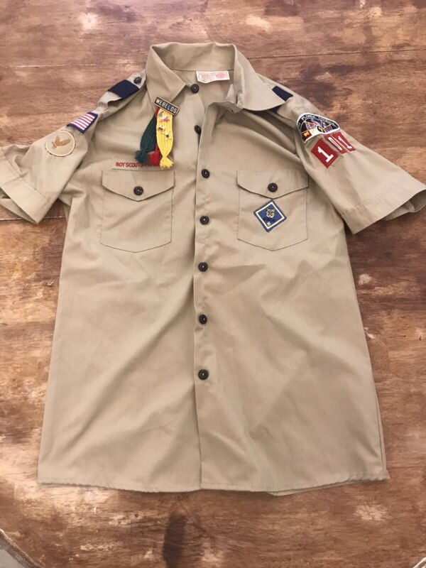 Boy Scout Of America Scout Shirt Webelos Pin Ropes S With Patches