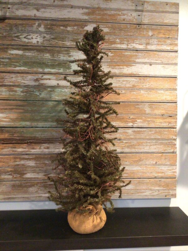 "36"" Tabletop Christmas Tree faux pine & raffia branches & Burlap Base primitive"