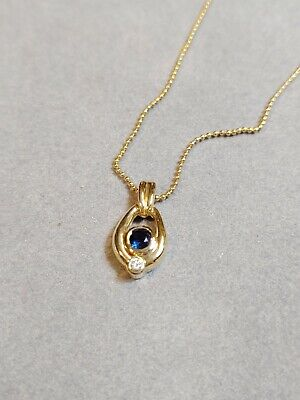 NEW 14Kt Yellow Gold Sapphire And Diamond Bezel Set Pendant w/ Bead Ball Chain Pendant 14kt Yellow Gold Setting