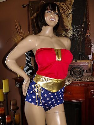 2 Piece*WONDER WOMAN**RETRO~VINTAGE~STYLE~HIGH WAIST**RAVE & Halloween costume   - Halloween Underwear Womens