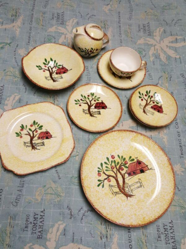 Blue Ridge Southern Pottery  Red Barn Apple Tree Bowls Plates Assortment Nice!