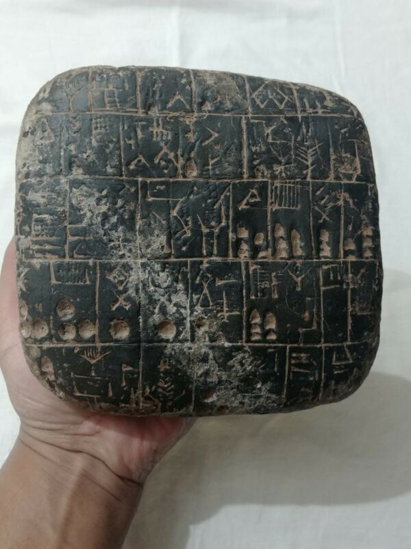 VERY LARGE & HEAVY NEAR EASTERN BLACK TABLET WITH EARLY FORM OF WRITING