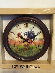 COLORFUL 12 ROOSTER WALL CLOCK  ROMAN NUMERALS BATTERY POWERED