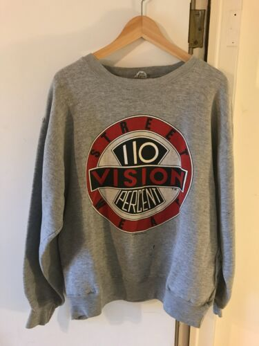 Vintage 1987 VISION Skateboard 110 Percent Big Logo XL Sweatshirt HAS ISSUES