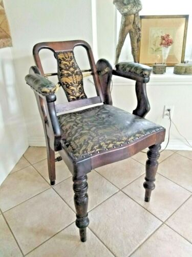Antique Steampunk Armchair Authentic Black Leather Animal Print Wood Metal Gear