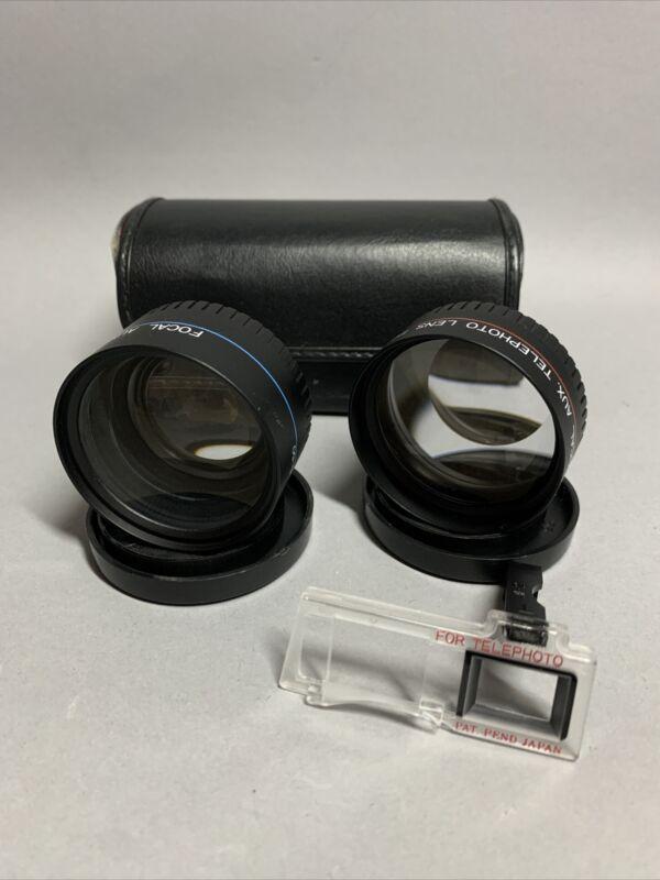 MInolta HI-MATIC AF-2 Focal Aux Tele & Wide Angle Lenses w/ Case 35mm