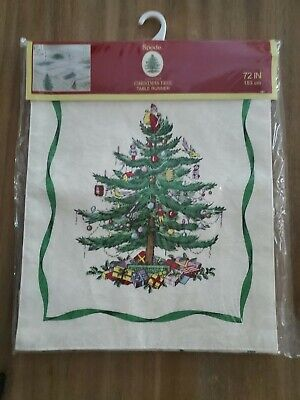 SPODE CHRISTMAS TREE TABLE RUNNER 14 X 72 INCH IVORY DAMSK GREEN HOLIDAY RIBBON