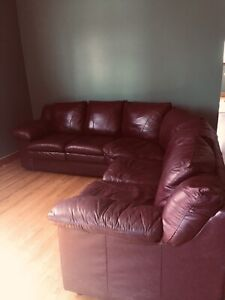 Burgundy Leather sectional Couch