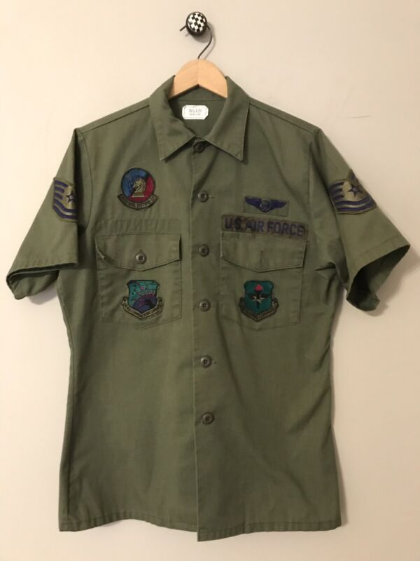 Vintage US Air Force Green Uniform Shirt with Patches