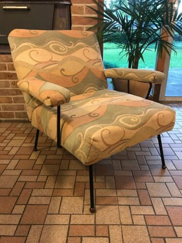 Dan Johnson Pacific Iron Lounge Arm Chair Mid Century Modern Copper Feet