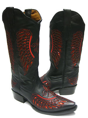 Cowgirl Formal Wear (Womens Black Red Flower Sequins Leather Cowgirl Boots Western Wear Pointed)