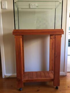 Aquarium on wooden stand/trolley in great condition