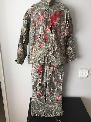 Authentic Zombie Military Fatigues War Haloween Costume Sz Medium 31-35w String