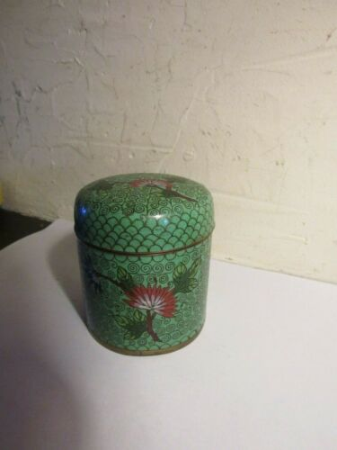 ANTIQUE CHINESE CLOISONNE TEA BOX CADDY LATE 1800