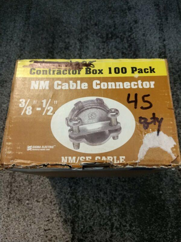 "45 pieces BOX Sigma Electric C-500 NM SE NM/SE Cable Connector 3/8""-1/2"""