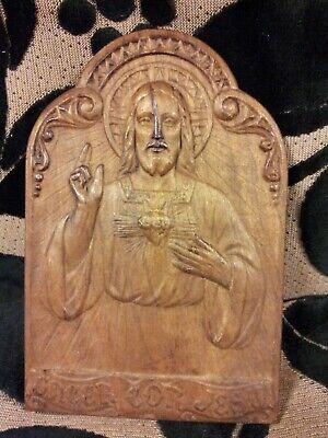 small carved wooden Icon.....Latin script...the Sacred heart of Jesus.