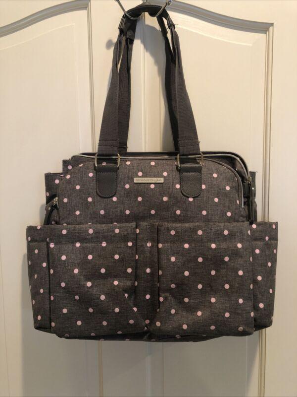 Bananafish Studio Diaper Bag Never Used. See Description. Gray Pink Dots.