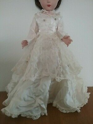 Vintage Lace Satin Rhinestone Doll Wedding Dress Gown, Fits 14