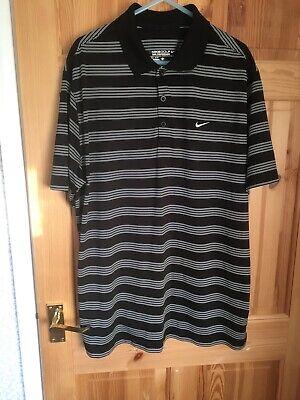 Nike Golf Style Black White Stripe Polo Shirt Large Tour Performance Jersey Top