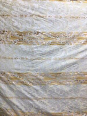 Ivory Damask Stripe - IVORY GOLD Damask Stripe Brocade Upholstery Fabric (54 in.) Sold BTY