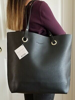Ralph Lauren Large Black Faux Leather Tote Bag Shopping Travel Purse Handbag Black Leather Large Tote