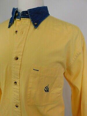 VTG 90s Nautica Super Soft Thick Button Up Shirt Mens Sz L Yellow Denim Collar