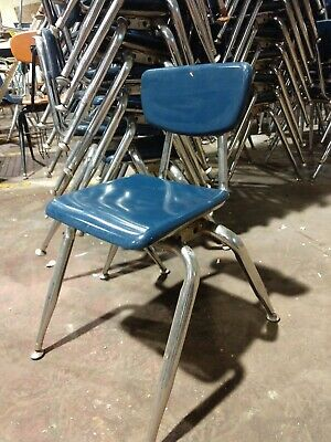 18 Quality Virco Blue Chairs 14 Seat Height School Stacking Chairs
