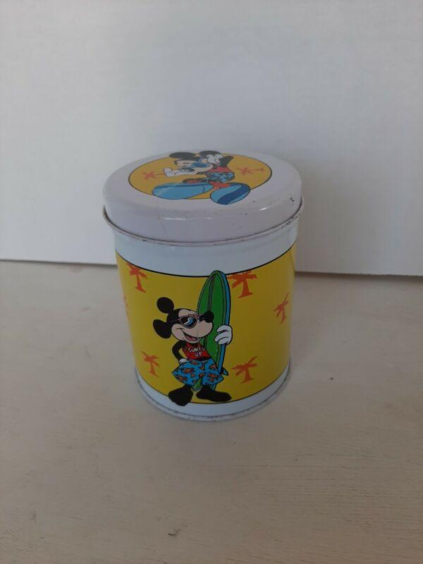 Vintage Mickey Mouse Round Tin Original Collectible Surfs Up Beach Kitchen Decor