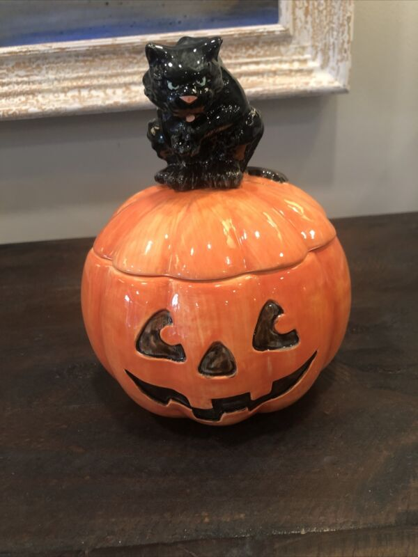 Fitz and Floyd Black Cat with Pumpkin Jack O Lantern ceramic Candy jar 1988