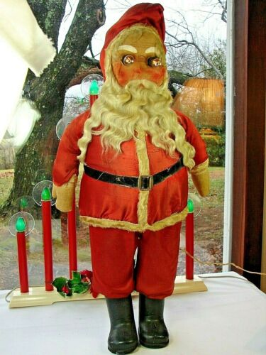 RARE 90 Year Old SANTA CLAUS w Buckram Face - Tall 1930s Lighted Store Display