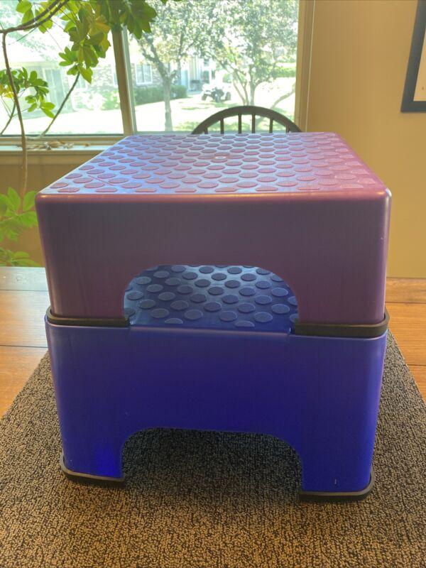 2 Piece The Firm Fanny Lifter Aerobic Step Stepper Blue Purple 8 Rubber Feet