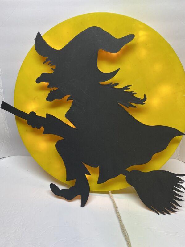 "Plastic 22 "" Witch Halloween Lit Sign Atico International USA"