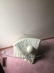 Gorgeous UNIQUE glass corner table! 150$ OBO