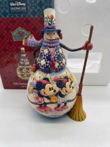 Disney Traditions Jim Shore Old Fashioned Holiday Mickey & Minnie Snowman w/box
