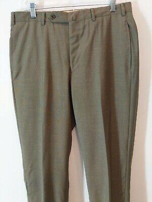 "Incotex 34"" x 34"" Men's Wool Flat Front Dress Pants Gray Green"