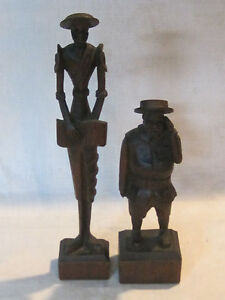 Don Quixote and Sancho Panza vintage wooden carving figurines