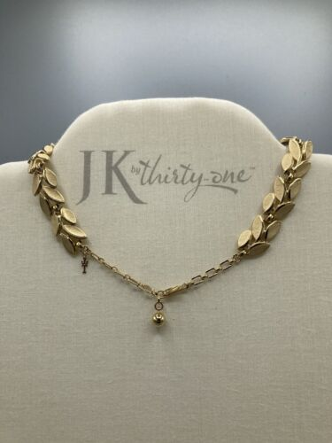 TRIFARI Etched Leaf Choker Style Fashion Necklace Set In Gold Tone - $38.00
