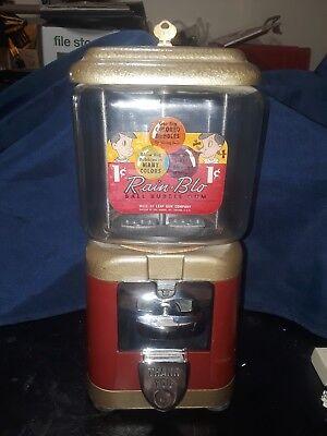 VTG1950s RED&GOLD OAK ACORN 1CENT RAIN-BLO GUMBALL MACHINE FULLY FUNCTIONAL MINT