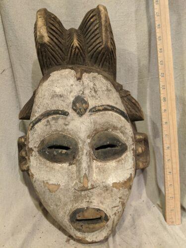 Ceremonial Punu-Lumbo Okuyi Pigmented Mask — Authentic Carved African Wood Art