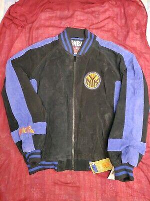 NBA New York Knicks basketball leather/sued Jacket Athletic Coat NEW NWT L Men