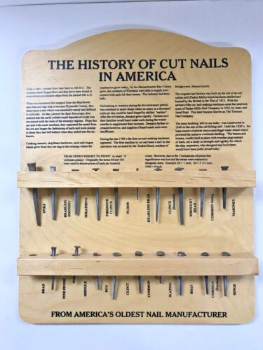 Vintage The History of Cut Nails in America Plaque-America Tremont Nail Company