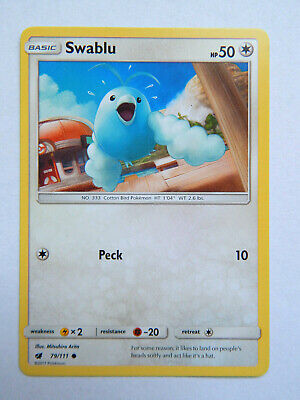 Swablu 79/111 (NM, Pokemon Card, Crimson Invasion, 2017, Colorless, Common)